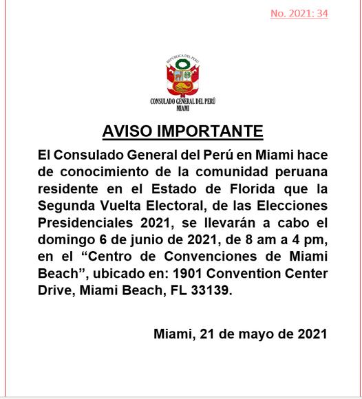 Cómo votar en Miami para elecciones Perú
