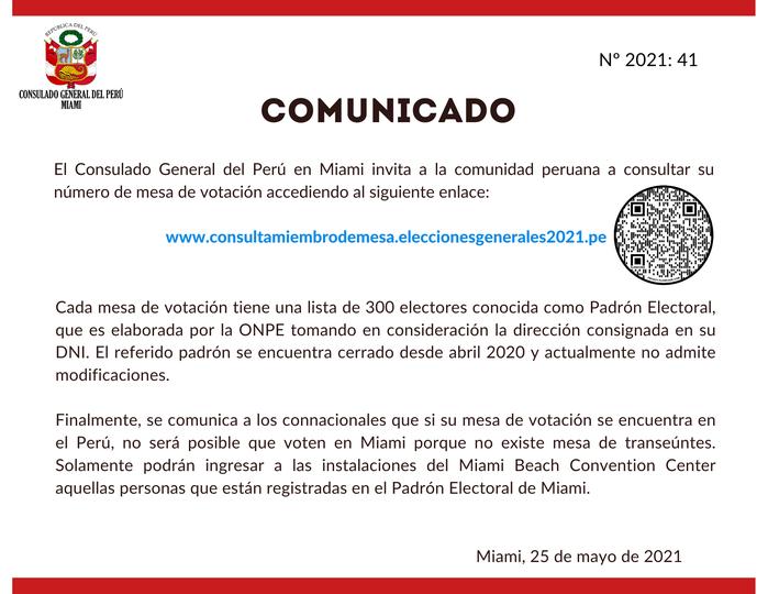 Mesa votación peruanos en Miami