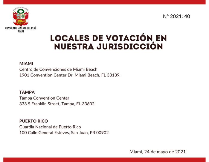 Puestos de votación peruanos en Miami, la Florida y Puerto Rico